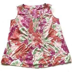 Talbots Outlet Sleeveless Floral Blouse Small